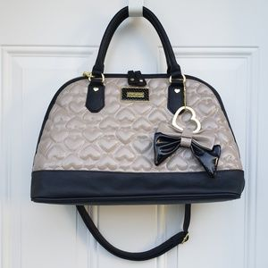 Betsey Johnson dome satchel purse gray and black